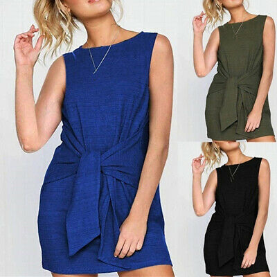 Women Ladies Solid Color Casual Lace Up Short Sleeve Round Neck Loose Dress FI