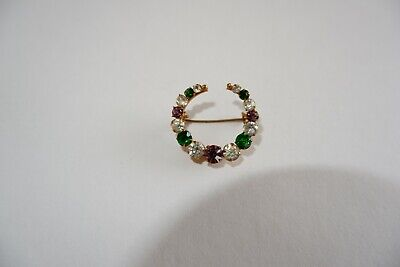 SUFFRAGETTE EDWARDIAN GILT CRYSTAL SET BROOCH OR PIN - C1905's, QUIRKY DESIGN!