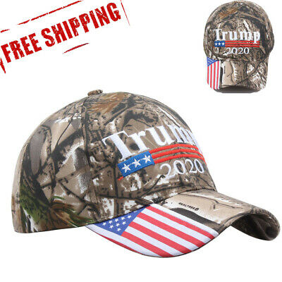 Trump 2020 American Flag Mossy Oak Embroidered Adjustable President Cap Camo jc