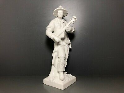 KPM Berlin Figure Malabar Chinese with Guitar White Very Good Condition A1 Top