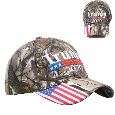 Trump 2020 American Flag Mossy Oak Embroidered Adjustable President Cap Camo CA