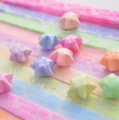 Origami Luminous Lucky Wish Star Paper Strips Glows in the dark Craft Gift EO