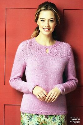 """~ Pull-Out Knitting Pattern For Lady's Patterned Yoke Sweater ~ 32"""" ~ 46"""""""