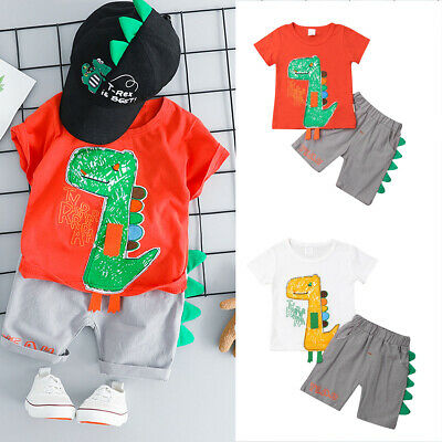 UK Fashion Cartoon Dinosaur Top Shorts Toddler Kids Baby Boy Outfit Clothes Set