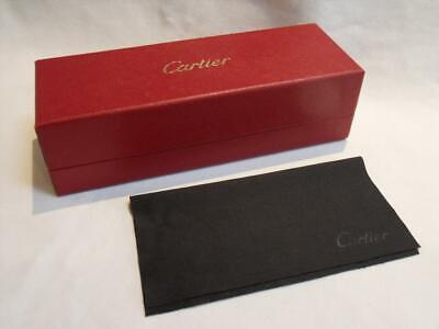 Genuine CARTIER - Cardboard Deep Red Glasses Case & Cloth - 17.5x6x5 cm