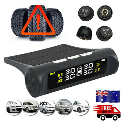 Solar Car Wireless LCD TPMS Tire Tyre Pressure Monitor System+4 External Sensors