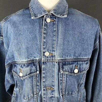 1bc7d019fe Eddie Bauer Men's Vintage Denim Blue Jean Trucker Jacket Size Medium 1990's