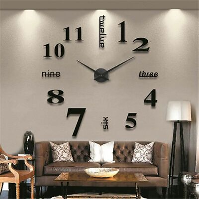 DIY 3D Large Number Mirror Wall Clock Sticker Decor for Home Office Kids Room.