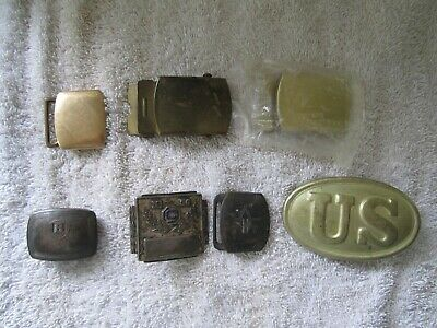 Lot of 6 Antique Vintage Military Belt Buckles Civil War / Miltary Sliver/Brass