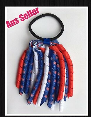 Girls Curly Ribbon Corker Korker Elastic Hair Tie *Red, White & Blue* AussieFlag