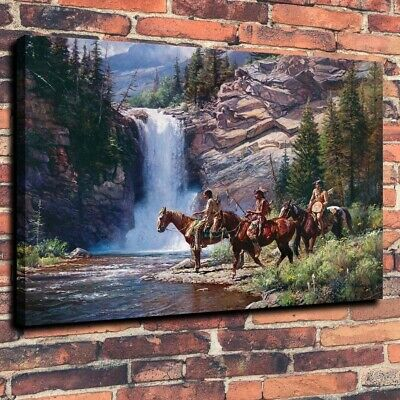 HD Print on canvas oil painting Indians Have Mountain Waterfall Wall Decor 16X20
