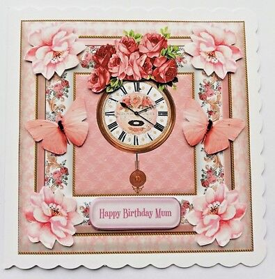 Handmade Birthday Card For Mum Or Any Recipient With 3D Flowers & Butterflies