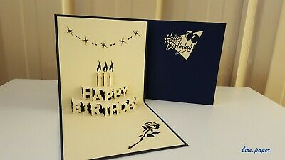 3D Birthday card candles pop up greeting card
