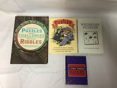 4x Puzzle Books Lateral Thinking Wrinkle's Puzzles The Past Times Puzzler