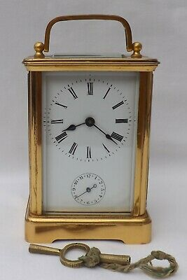 Antique Brass Carriage Clock Striking Alarm Bell  With Key Spares / Repair