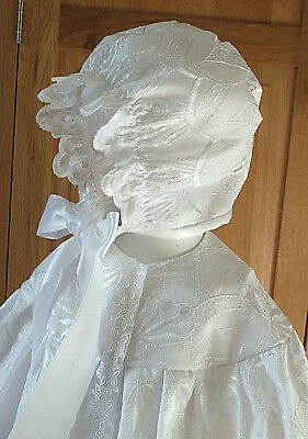 Christening cape and bonnet set ONE OF A KIND will fit 3 month baby up to 1 year