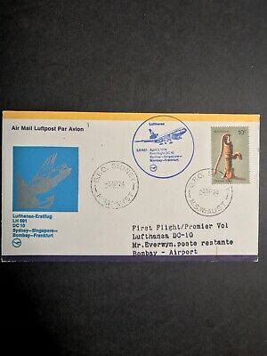 Sydney to Bombay India Australia First Flight Cover 1974 Lufthansa