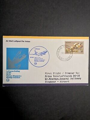 Sydney to Singapore Australia First Flight Cover 1974 Lufthansa