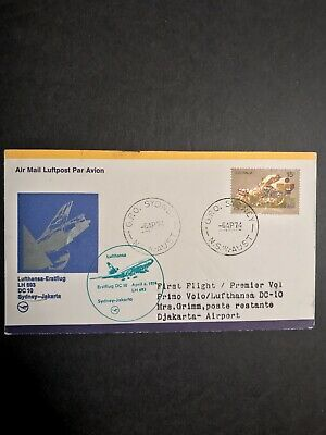 Sydney to Jakarta Indonesia Australia First Flight Cover 1974 Lufthansa