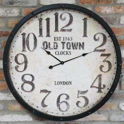 80cm Large Black & White Deep Metal Old Town Clocks Wall Clock Vintage Style