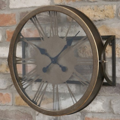 45cm Tall Tiltable Roman Numeral Glass & Metal Black Bronze Wall Clock