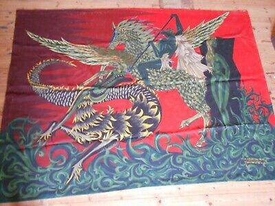 Modern art tapestry tapestries Pegasus verses the dragon 198 x 144 cms 1960s