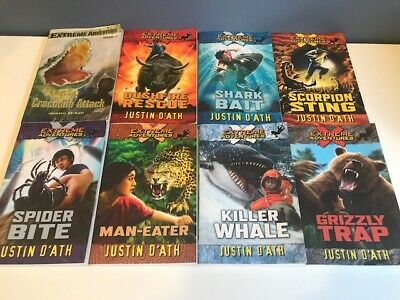 Lot of 8 EXTREME ADVENTURES Kids Chapter Books Justin D'Ath Grizzly Crocodile