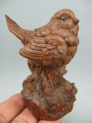 Rare Antique Boxwood Handwork Sparrow Japanese Netsuke Statue