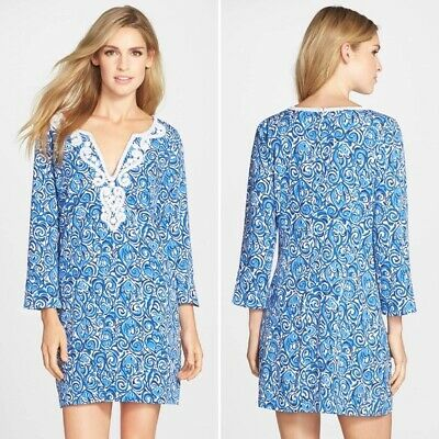 03d59e5855737d Lilly Pulitzer Sz Medium M Julianna Embroidered Tunic Dress Indigo Chasing  Tail