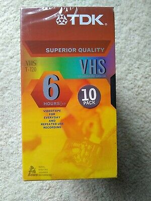 TDK Superior Quality T-120 VHS Tapes 6 Hour Extended Play 10-Pack NEW SEALED