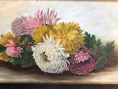 ANTIQUE OIL PAINTING Chrysanthemums Flowers Framed Circa 1900's
