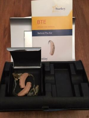 Nice Pre Owned STARKEY Destiny 800 Hearing Aids BTE Earmold with Case 2008
