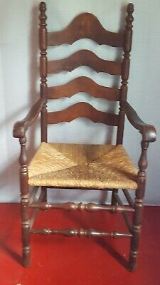 Antique Shaker Style Ladder Back Accent Arm Chair Rush Woven Seat Spindle Leg
