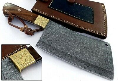 Handmade Damascus Steel Chef's kitchen Cleaver Chopper Axe Burl Wood Handle