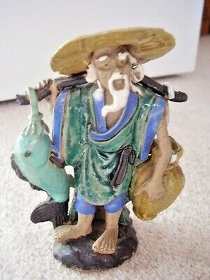 Antique Chinese Miniature CLAY Glazed  Fishman figure -ornament