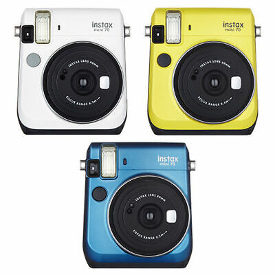 Fujifilm Instax Mini 70 Fuji Instant Camera White Yellow Blue Plus 20 Film Pack