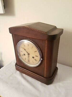 Large Edwardian Inlaid Mahogany 8 Day  Mantel clock by Hamburg American Clock Co