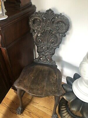 German Rogers Wood Carved Antique CHAIR Vintage