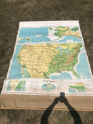 Denoyer Geppert Vintage Pull Down School Map of UNITED STATES S1crx.1964.Canvas
