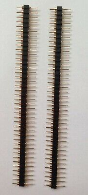 Uk 🇬🇧 2 Gold Plated 2.54mm 40 Pin Single Row Straight Round Pin Header Strips