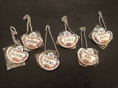 Crown Staffordshire Fine Bone China Decanter Labels Signs NEW $23 Each