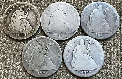 8 low grade Seated Liberty Half Dollars
