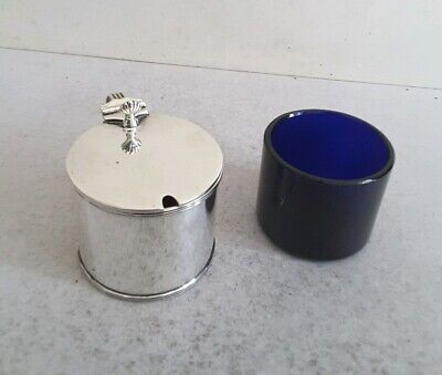 Quality,  Large, Antique Solid Silver Drum Mustard Pot.   Ht. 7Cms.   Birm.1910.