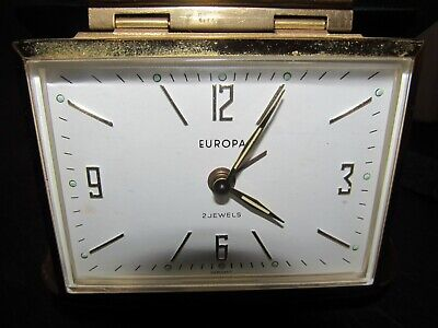 Vintage Europa 2 Jewels Travel Alarm Clock Hard White Case Made In Germany