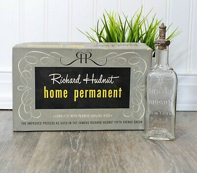 Antique Richard Hudnut NY Bottle Eau De Toilete Perfume + Home Perm Kit Box