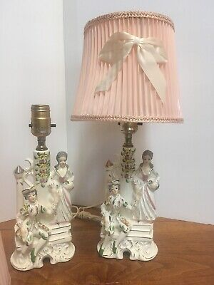 Pair Vintage Wales Japan Ceramic Porcelain Victorian Couples Dresser Table Lamps