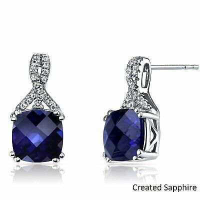 Vintage Carved Antique Blue Radiant Cut Sapphire Earrings 14K White Gold Plated