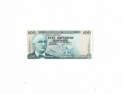 Iceland 1961 100 kronur P44 banknote appears uncirculated