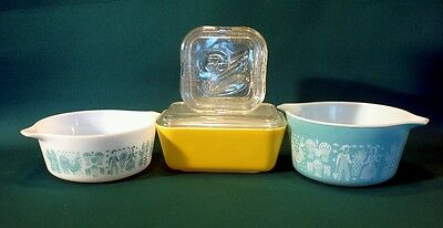 Nice lot of Vintage Pyrex Refrigerator Dishes Lot  AMISH Butterprint Americana