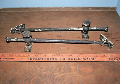 Antique Sliding Adjustable Transom Casement Window Holds Vtg Old Hardware